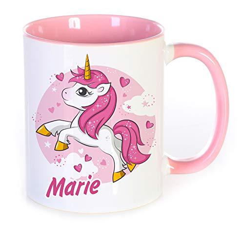 Werbetreff Gera Namenstasse Motiv: Einhorn mit Namen Bedruckt, Geschenkidee für Frauen und Mädchen, zum Geburtstag oder Schulanfang, Tasse, rosa, pink, Unicorn