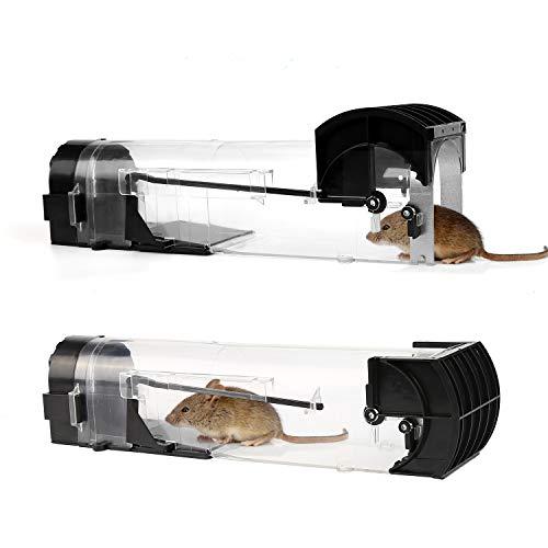 Mitening Förpackning med 2 Mänskliga musfällor, husdjur- och barnsäkra, genomskinliga och återanvändbara råttfällor, plastmöss, fångar inte levande möss, bur för inomhus- och utomhusbruk