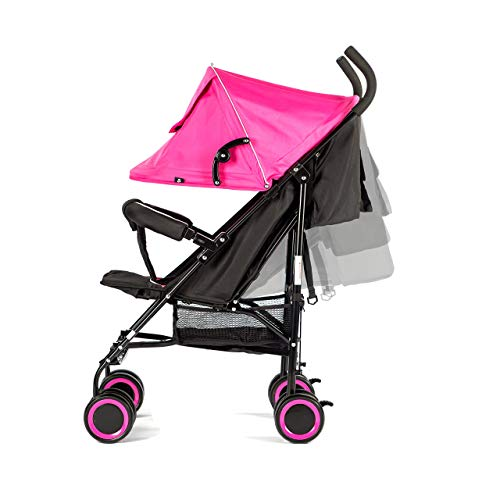 EVEZO 2141A Full-Size Ultra Lightweight Umbrella Stroller, Reclining Seat, 5-Point Safety Harness, Canopy, Storage Bin (Hot Pink)