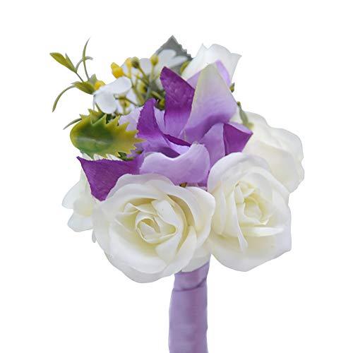 Demarkt Seide Ansteckblume Brosche Hochzeit Seide Blumen Boutonniere Braut Corsage Ansteckblume Bräutigam Boutonniere Brosche Pin (Lila)