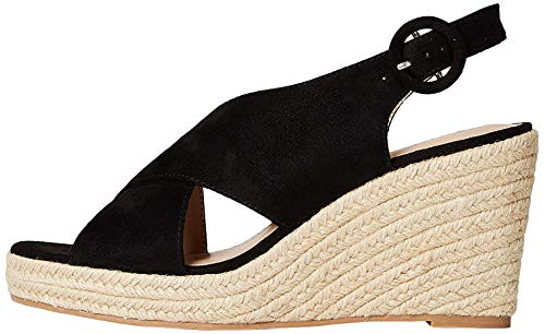 Marchio Amazon - FIND Crossover High Wedge Espadrille Espadrillas, Nero (Black), 36 EU