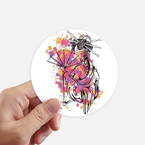 DIYthinker Culture Japonaise Point de Couleur Geisha Autocollants 10CM Mur Valise pour Ordinateur Portable Motobike Decal 8Pcs diamètre 10Cm Multicolor