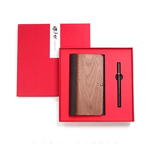 CXYBJB Notizbuch Leder Notizbuch Mahagoni Stift Set Werbegeschenk