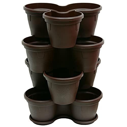ENGELLAND 4X Blumentopf Säulentopf Pflanzturm Hochbeet Pflanztopf-Kübel mit Untersetzer stapelbar widerstandsfähig Kunststoff Braun