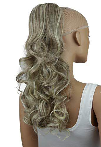 PRETTYSHOP 45cm Haarteil Zopf Pferdeschwanz Haarverlängerung Voluminös Gewellt Aschbraun Hellblond Mix PH35