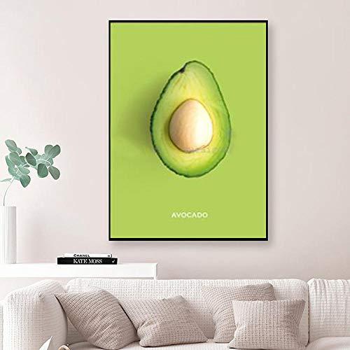 HERW Cuadro sobre Lienzo Póster Piña Limón Moderno Nórdico Pintura Lienzo para Pared Imágenes Frutas Coloridas para Decoración Cocina Pinturas Pared
