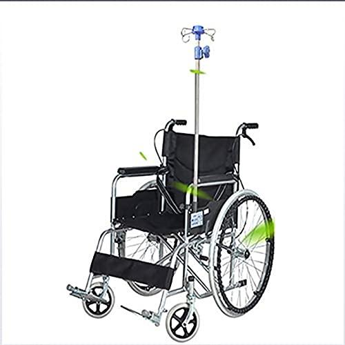 PYXZQW Medizinische Infusionsständer, höhenverstellbarer Infusionsständer mit 4 Haken Rollstuhl Infusionsständer aus Edelstahl für Rollstuhlfahrer, Walker-Rollstuhl