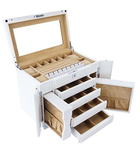 MEYLEE Boîte à bijoux en bois de grande capacité fabriquée à la main avec grande serrure et clé à miroir - Coffre de rangement à usage multiple - avec 4 tiroirs coulissants et 2 petites armoires latérales , white