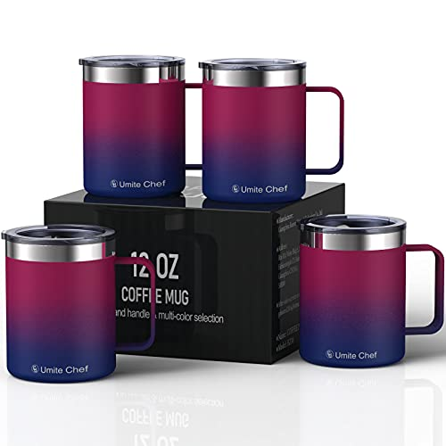 Umite Chef Stainless Steel Insulated Coffee Mug Tumbler with Handle, 12 oz Insulated Coffee Cup Set with Lid, Double Wall Coffee Travel Tumbler Mug for Hot & Cold Drinks( 4Pack,Red+Navy)
