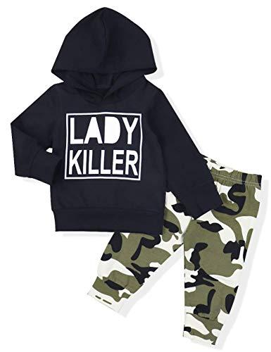 Ttkgyoe Baby Boy Kleidung Langarm gedruckt Lady Killer Top Hoodie und Camouflage Hosen Infant Outfits Set
