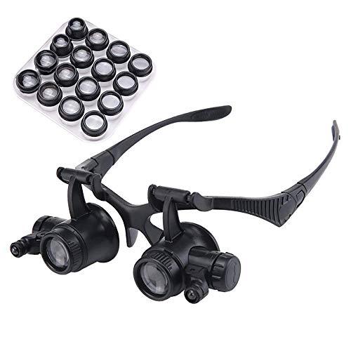 YO-TOKU - Gafas de lupa con luces HD para reparación de relojes, grabado, bordado antiguo, lectura 20 veces, lentes portátiles ajustables para reparación de lentes