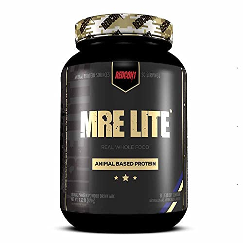 Redcon1 MRE Lite (Blueberry Cobbler) 30 Servings, Animal Based Protein, Contains No Whey, No Bloating, Keto Friendly, 2G Sugar, 24G Protein Protein Meal Replacement