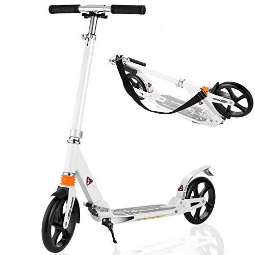 Caroma Scooter für Erwachsene Kick Scooter mit Kick Standbremse, Doppelfederung, Schnellverschluss und höhenverstellbarer 8-Zoll-Big Wheels-Scooter mit Gurt für Erwachsene und Jugendliche (White)