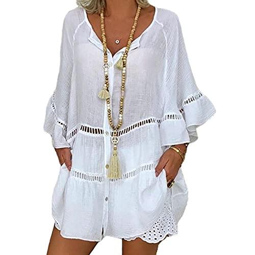 N\P Tops de talla grande para mujer manga 3/4 algodón y lino cuello en V suelta botón hueco camiseta