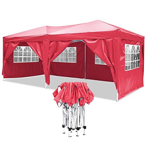 YUEBO Faltpavillon Wasserdicht Gartenpavillon, 3 x 6m Partyzelt Pavillon Festzelt mit 4 Seitenteilen für Garten/Party/Hochzeit/Picknick/Markt- Tragetasche inklusive