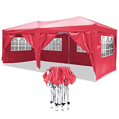 Carpa con Paredes 3x6 m | Plegable, Impermeable, con Protección Solar, Ideal para Fiestas en el Jardín | Gazebo, Cenador, Pabellón, Tienda Fiestas | persona 10-12 (Typ_5)