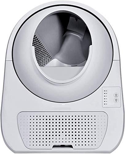 ZouYongKang Caja de arena de gato automática de autolimpieza, inodoro de gato elegante de limpiador eléctrico completamente cerrado con desodorante para gato de peso y limpieza, inodoro remoto para ma