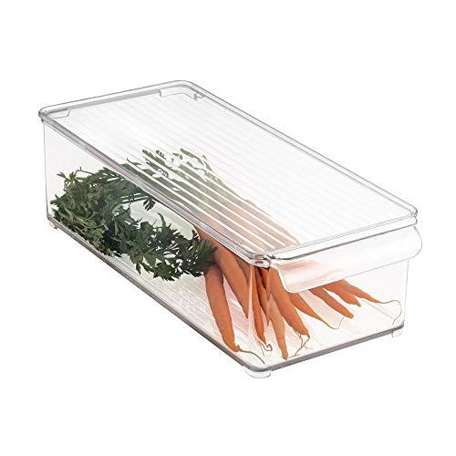 mDesign boîte de Rangement avec Couvercle – bac Alimentaire en Plastique pour Fruits, légumes, Fromage, etc. – Rangement de Cuisine pour réfrigérateur ou congélateur – Transparent