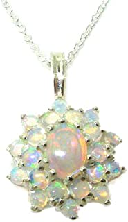 Ladies Solid 925 Sterling Silver Ornate Large Natural Fiery Opal 3 Tier Large Cluster Pendant Necklace