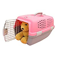 WTYD ペット用品 ペット・エアウェイズ・ボックス・チェック猫/犬およびその他のペット用の荷物輸送用ケージ(サンルーフ・ベンチレーション・ホールなしの上部)小、サイズ:47 * 31 * 31cm (色 : ピンク)