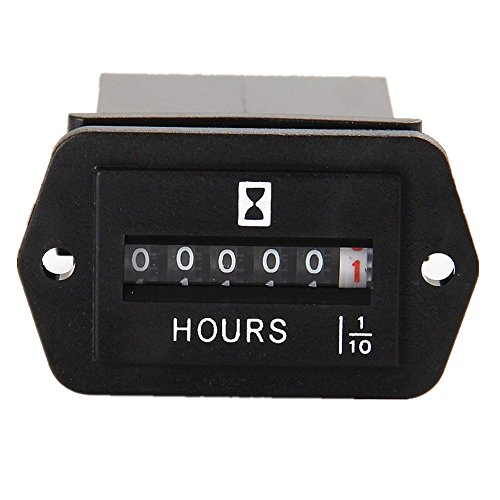 Searon Mechanical Hour Meter AC/DC 8~80V for Generator Boats, Automobiles, Motorcycles, ATV, UTV, Go Carts, Jet Ski, Snowmobile, Lawn Tractors, Wood Chippers, Shredders, Pumps, and Many More