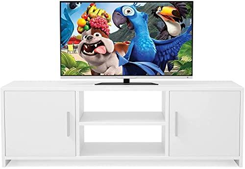 Mueble TV Salón Mesa para TV Mesa de Salón Moderno con 2 Puertas 1 Estante Blanco Estilo Nórdico 110x35x36cm