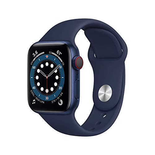 AppleWatch Series 6 (GPS + Cellular, 40mm) - Blue Aluminum Case with Deep Navy Sport Band (Renewed)
