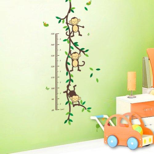 Topro Stickers toise pour décoration d'intérieur Motif arbre plantes et singes Vert 1,50 m