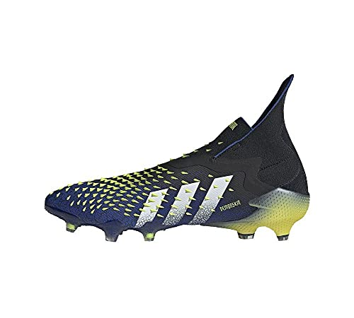 adidas Predator Freak + FG, Bota de fútbol, Black-White-Solar Yellow, Talla 7.5 UK (41 1/3 EU)