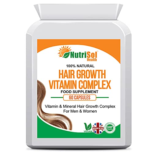 NutriSol Health Hair Growth Vitamin & Mineral Complex for Men & Women | Hair Growth Vitamins | 60 Vegan Capsules | Food Supplement Made in the UK | 10000mcg Biotin per serving