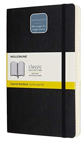 Moleskine Classic Notebook Expanded, Taccuino a Quadretti, Copertina Morbida e Chiusura ad Elastico, Formato Large 13 x 21 cm, Colore Nero, 400 Pagine