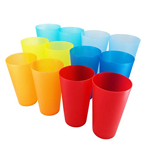 AOYITE 32-ounce Plastic Tumblers BPA Free Dishwasher Safe Restaurant-Quality Glasses Set of 12 in 6 Multi-Colors Party Cups