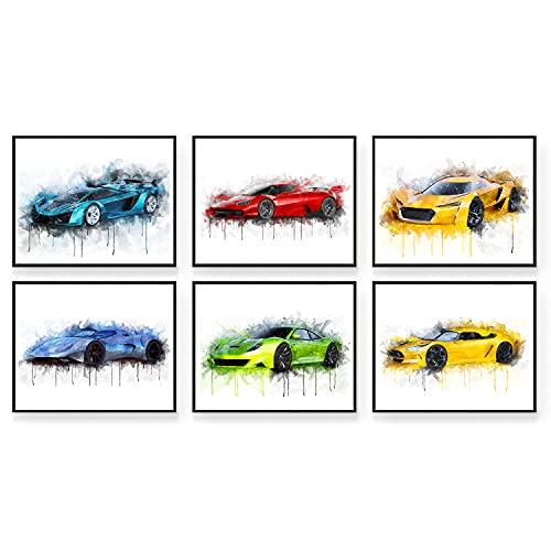 Car Poster - Car Wall Art - Set of 6 (10x8') Car Posters for Boys Room | Car Wall Decor | Car Room...