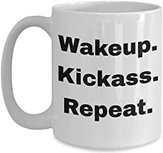 Funny inappropriate sarcastic offensive gag gifts | Profanity adult humor mug hilarious sweary coffee mugs for work meeting for men women| Wakeup Kickass Repeat