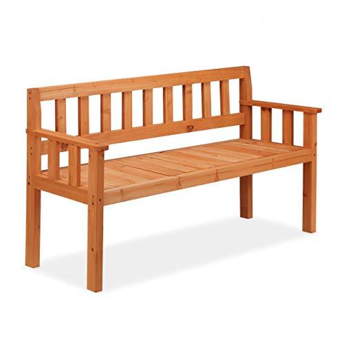 Relaxdays Gartenbank, 3-Sitzer, mit Holzstreben, rustikal, Balkon & Terrasse, Sitzbank, HBT 80,5 x 143,5 x 53 cm, orange