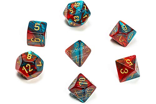 Chessex CHX26462 Dice-Gemini Red-Teal/Gold Set