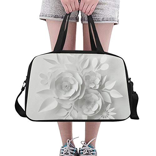 Lebendige Papierblume Illustration benutzerdefinierte große Yoga Gym Totes Fitness Handtaschen Reise Seesäcke mit Schultergurt Schuhbeutel für die Übung Sport Gepäck für Mädchen Frauen Frauen Outdoor