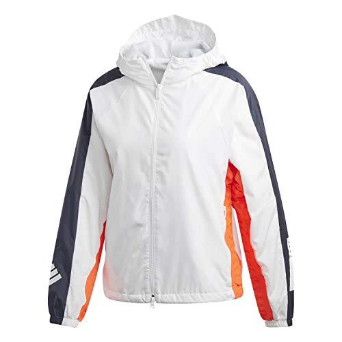 adidas Damen W.N.D. Jacket Fleece Lined Kapuzenjacke, White/Legend Ink, S