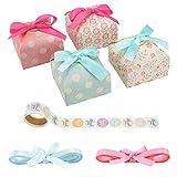 Cajas de regalo para caramelos (paquete de 40), cajas de papel para proyector con lazo de encaje, caja de dulces para bodas, compromisos, fiestas de cumpleaños, fiestas de baby shower Cuadrado.