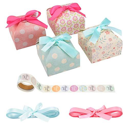 Cajas de regalo para caramelos (paquete de 40), cajas de papel para proyector con lazo de encaje, caja de dulces para bodas, compromisos, fiestas de cumpleaños, fiestas de baby shower Cuadrado