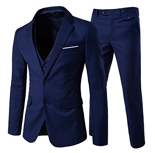 Men's Modern Fit 3-Piece Suit Blazer Jacket Tux Vest & Trousers, Navy, Large