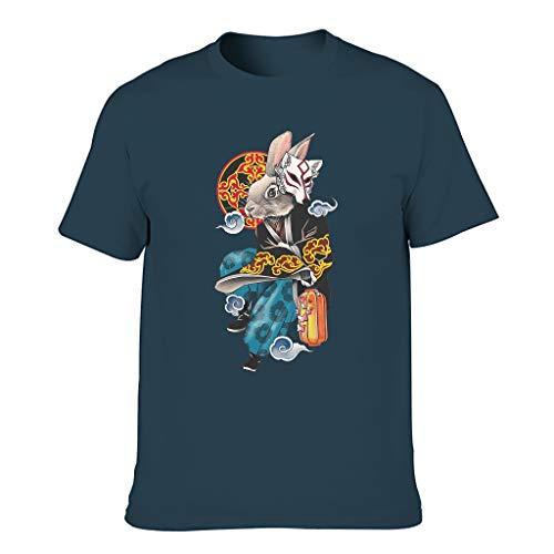 Cómoda camiseta para hombre con gráficos vintage japoneses y conejos, zorro, nubes, estampado casual azul marino S