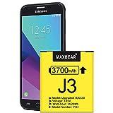 Galaxy J3 Battery, (Upgraded) MAXBEAR 3700mAh 3.85V Li-Polymer Replacement Battery EB-BG530BBC for Samsung Galaxy J3 J320V J320A J320F J320P J327A J327P EB-BG530BBE/Galaxy Grand Prime SM-G530 Battery