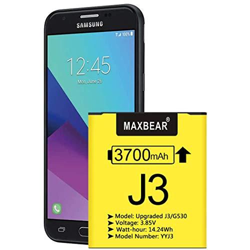 Galaxy J3 Battery, (Upgraded) MAXBEAR 3700mAh 3.85V Li-Polymer Replacement Battery EB-BG530BBC for Samsung Galaxy J3 J320V J320A J320F J320P J327A J327P EB-BG530BBE Galaxy Grand Prime SM-G530 Battery