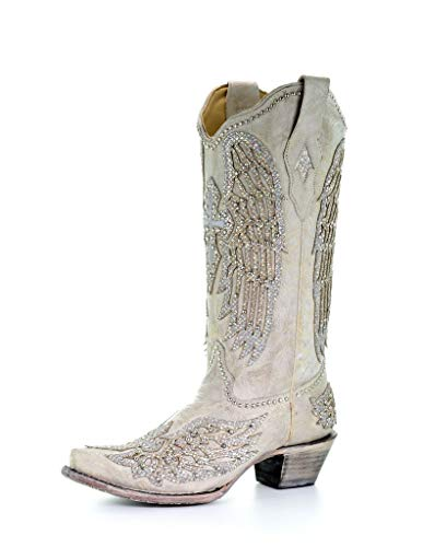 Corral Ld White Cross & Wings ,Size 8.5