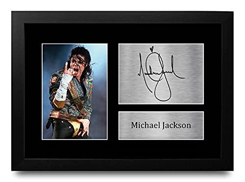 HWC Trading FR Michael Jackson Gift Ondertekende, Ontworpen A4 Printed Music Gifts Print Picture Beeldscherm