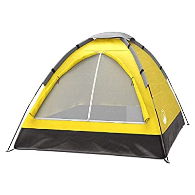 2-Person Dome Tent- Rain Fly & Carry Bag- Easy Set Up-Great for Camping, Backpacking, Hiking & Outdoor Music Festivals by Wakeman Outdoors (Yellow)