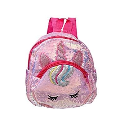 Lurrose Mochila con lentejuelas brillantes de color rosa con diseño de unicornio de Paillette adorable bolsa de libros de moda para niños de viaje pequeña bolsa escolar