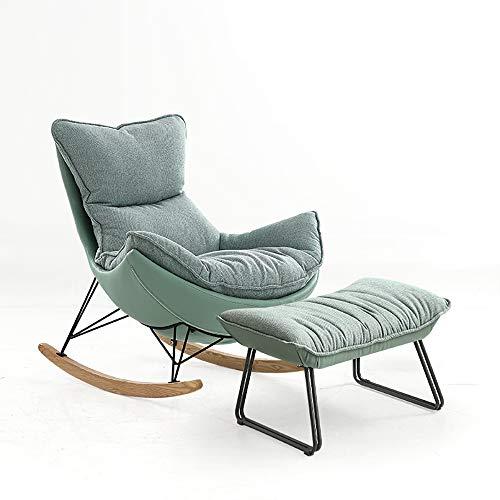 VBARV Conjunto de Mecedora Lounge, Mecedora Moderna de Tela, sillón Individual con otomana, cojín...