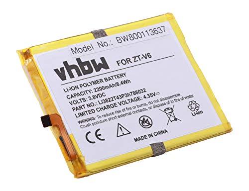 vhbw Li-Polymer Akku 2200mAh (3.8V) für Handy Smartphone Telefon ZTE Blade D6, V6, X7 wie Li3822T43P3h786032.